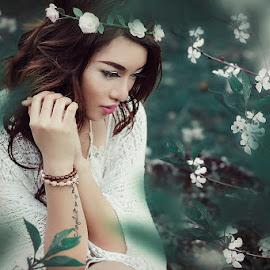 Bohemian Princess by Yogga Fransisco - People Portraits of Women ( fashion, model, green, beautiful, mood, fashion photography, beauty in nature, flower, portrait )