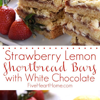 Strawberry Lemon Shortbread Bars with White Chocolate