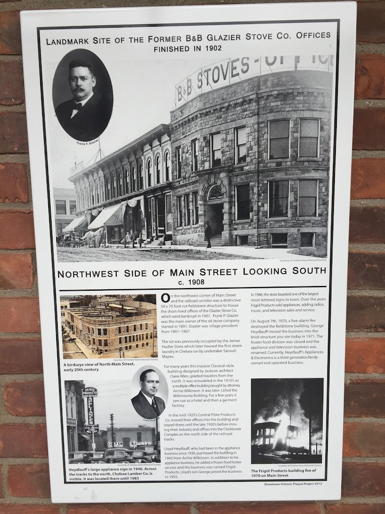 Landmark site of the former B&B Glazier Stove Co. offices Finished in 1902   Northwest Side of Main Street Looking South c. 1908   On the northwest corner of Main Street and the railroad corridor was ...