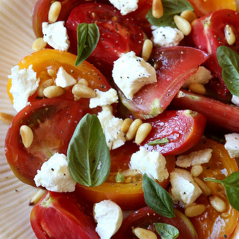 Tomato Salad with Goat Cheese and Pine Nuts
