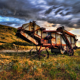 Done Threshing by Jim Talbert - Transportation Other ( hdr, thresher, montana, case, landscape )