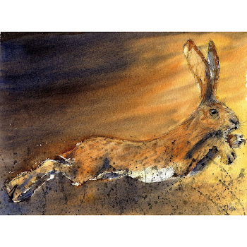 Hare art print from a watercolour painting
