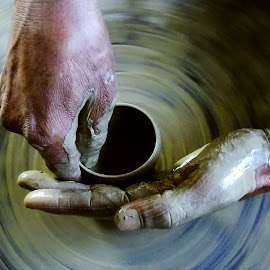 Spining  by Kallol Bhattacharjee - Artistic Objects Other Objects ( hand, wheel, pottery, spin, soil,  )