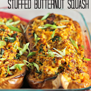 Quinoa, Kale, and Bacon Stuffed Butternut Squash