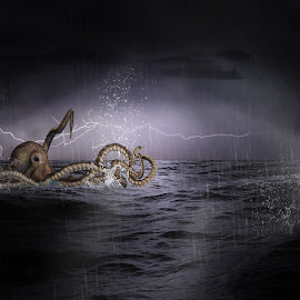 Lost at Sea by Danielle Benbeneck - Digital Art People ( child, lost, sea, ocean, octopus, composite,  )