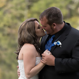 Right Before the Kiss by Janice Mcgregor - Wedding Bride & Groom ( canon, love, wedding photography, kissing, canon sl!, bride, groom, outside )
