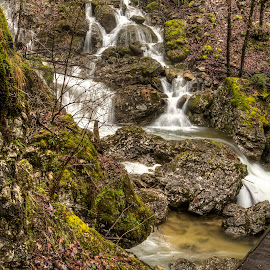 Waterfalls in the gorge named hell (V peklu) by Rado Krasnik - Landscapes Forests ( water, wilderness, waterfalls, nature, trees, forest, rocks )