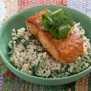 Seared Salmon with Sorrel Salad & Creamy Barley