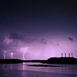 Lightning by Tony Bendele - Landscapes Weather ( clouds, thunderstorms, lightning, sky, nature, thunderstorm, weather, supercell, storms, landscape, storm, river )