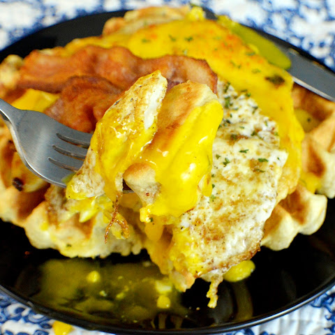 Maple Bacon Chicken Waffles with Hollandaise Sauce | 15 Minute Meals