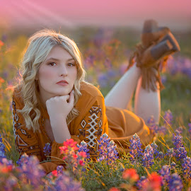 Texas flower by Carole Brown - People Portraits of Women ( brown eyes, senior girl, blonde hair, sunset, bluebonnets )