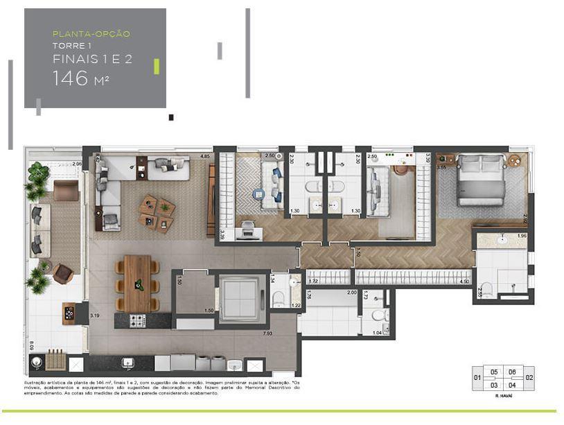 Planta Opção - 146 m²