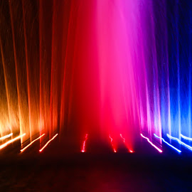 Fountain light painting by Oana Nan - Abstract Light Painting ( light painting, colorful, colors, nighttime, reflections, light,  )