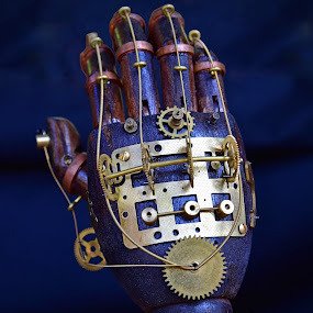 The Hand by Marco Bertamé - Artistic Objects Other Objects ( hand, time, clock, wires, gear-wheel, pointer, yellow, steampunk, golden )