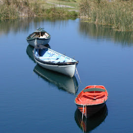 All in a line by Paul Bech - Transportation Boats ( calm, boats, rowboats, afloat, pond )