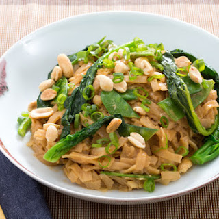 Stir-Fried Noodles with Peanut Sauce, Gai Lan & Snow Peas