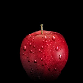 Wet Apple by Christy Stanford - Food & Drink Fruits & Vegetables ( water, fruit, red, nature, food, apple, drops, wet, delicious )