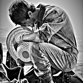 Pray Before 8 by Brian  Shoemaker  - Sports & Fitness Rodeo/Bull Riding ( prayer, blackandwhite, cowboy, praying, rodeo )