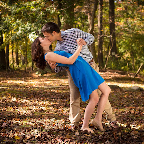 Russell & Nancy by Josiah Blizzard - Wedding Old - Engagement ( love, kiss, dip, blue, engagement )