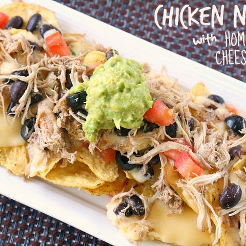 CHICKEN NACHOS WITH HOMEMADE CHEESE SAUCE