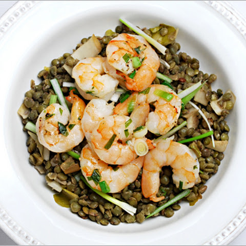 Roasted Shrimp and Green Lentils
