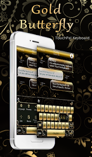 App Gold Butterfly Keyboard Theme APK for Kindle