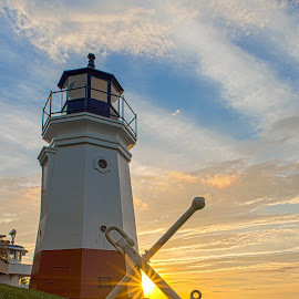 Vermillion Sunset by Jim Sommers - Buildings & Architecture Public & Historical ( ohio, sunset, lighthouse, great lakes, lake erie, vermillion )
