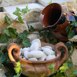 Water fountain detail by Roxana Zlampareț - Artistic Objects Other Objects ( fountain, white, ivy, stones )