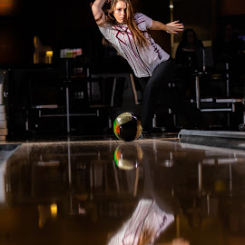 Strike by Todd Wallarab - Sports & Fitness Bowling ( ball, strike, lady, pins, bowling, girl, sport )