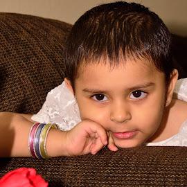 Cutie Pie by Majid Uppal - Babies & Children Toddlers ( flash, rose, girl, red, kid, eyes )