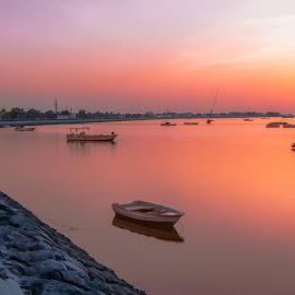 RAMS Sunset by Shabbir Shani - Landscapes Sunsets & Sunrises ( waterscape, colors, sunset, boats, uae, rak, landscapes )