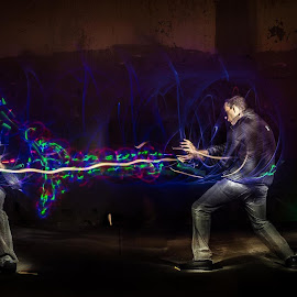 Fighting myself by Sean Valdez - Instagram & Mobile iPhone ( light painting, colors, single exposure, action, dark, in camera )