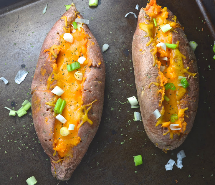 Chipotle Cheddar Twice Baked Sweet Potatoes Recipe | Yummly