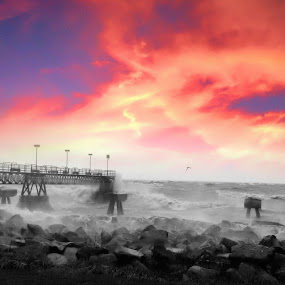 Sandy by Christopher Gray - Instagram & Mobile iPhone ( sky, ohio, erie, sunset, cloud, lake, sandy, hurricane, cleveland )