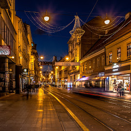 Ilica by Mario Horvat - City,  Street & Park  Street Scenes ( lights, street, night, street scene, zagreb, street lights )