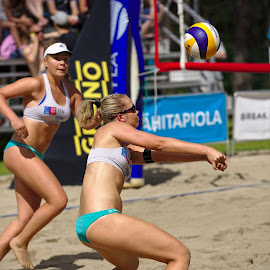 Beach volley by Simo Järvinen - Sports & Fitness Other Sports ( playing, female, outdoor, players, beach volley, action, sports, summer, women )