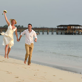 Beach Wedding by Andrew Morgan - Wedding Bride & Groom ( love, zanzibar, happy, wedding, sea, beach )