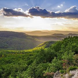 Landscape with clouds by Péter Mocsonoky - Landscapes Mountains & Hills ( clouds, hill, mountains, sky, nature, tree, blue, sunset, green, forest, landscape )