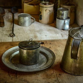 A Simpler Time by Robert Coffey - Artistic Objects Still Life ( metal, plate, cutting board, utensils, kitchen, coffee pot,  )