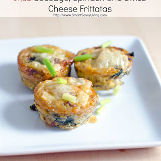 Mini Sausage, Spinach and Swiss Cheese Frittatas