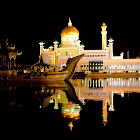 The Mosque by Cristopher Selga - Buildings & Architecture Places of Worship ( water, reflection, mosque, gold, worship, black )