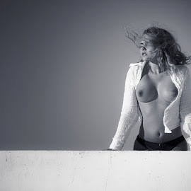 On the rooftop by Catchlights Fotografie - Nudes & Boudoir Boudoir ( wind, thong, topless, blouse, hair, sun )