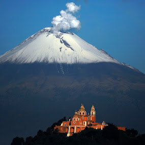 The Church and Volcano by Alfredo Garciaferro Macchia - Landscapes Mountains & Hills ( volcano, popocatepetl, smoking volcano )