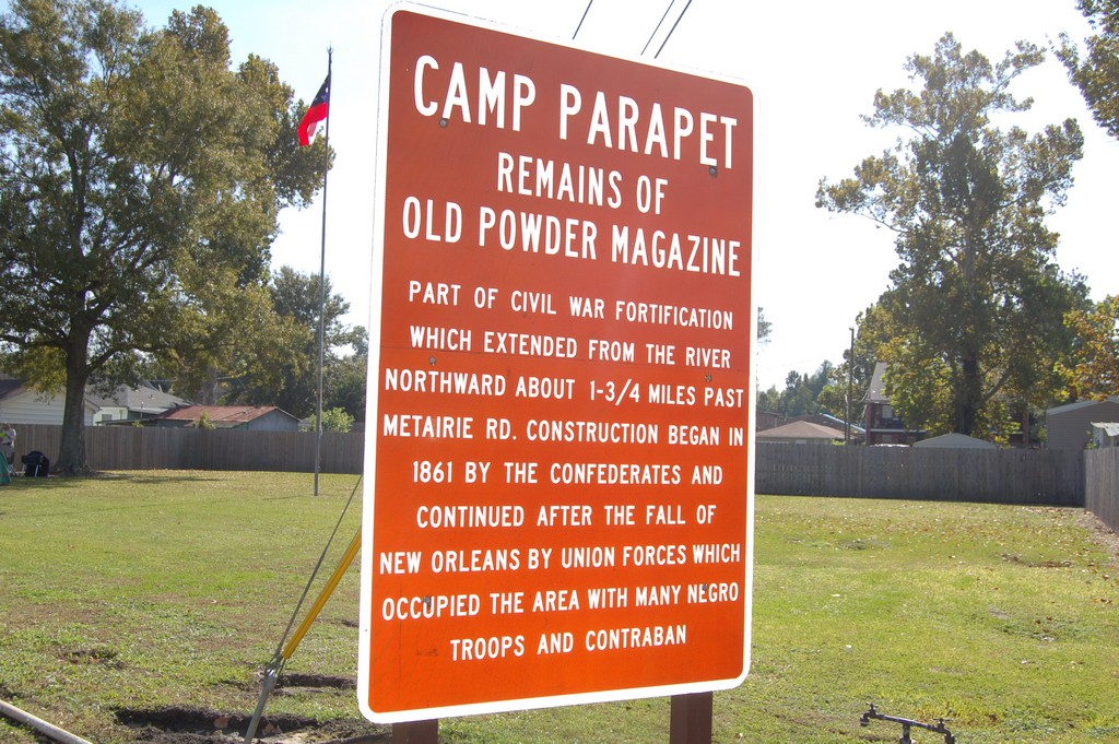 Part of Civil War fortification which extended from the river northward about 1-3/4 miles past Metairie Rd. Construction began in 1861 by the Confederates and continued after the fall of New Orleans ...