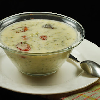 Cream of Broccoli Soup with Roasted Tomatoes and Cheddar