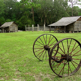 Pioneer Backyard by Bill Bettilyon - Buildings & Architecture Other Exteriors ( forest capital museum state park, cracker homestead, wagon wheel )