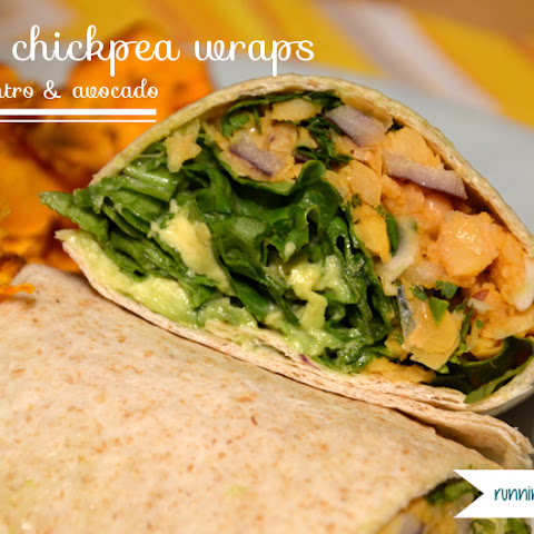Spicy Chickpea Wraps with Cilantro and Avocado