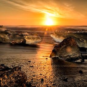 Iceberg Sunrise by Ade Russell - Landscapes Beaches ( iceland, icebergs, breiðamerkursandur, jökulsárlón, black sand beach, glacier lagoon )