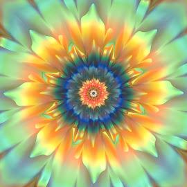 Flower 20 by Cassy 67 - Illustration Abstract & Patterns ( abstract, pastel, wallpaper, digital, sun, digital art, summer, fractal, flowers, fractals, light, flower, energy )