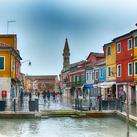 My colouring Burano by Jiri Cetkovsky - City,  Street & Park  Street Scenes ( houses, color, street, veneto, burano, italy, city )